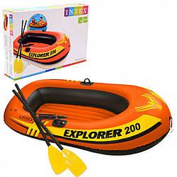 Надувная лодка Intex 185x94x41 см, Explorer 200 Set+, пластиковые весла и ручной насос (58331)