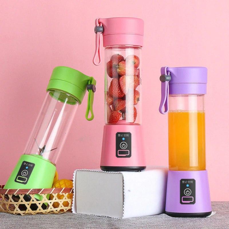 Портативный фитнес блендер USB Smart Juice Cup Fruits 4 ножа rose