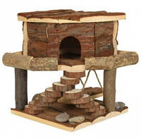 Домик для грызунов Ida house с качелью и ступеньками (дерево) 19х20х19 см