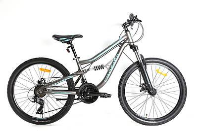 """Підлітковий велосипед двопідвіс Crosser Legion 24"""" сіро-синій"""