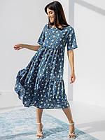 Шикарное супер свободное натуральное платье на лето средней длины миди цвет джинс 42-44