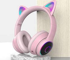 Bluetooth гарнітура / навушники AKZ-К26 з котячими вушками (Рожеві)