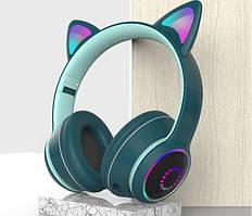 Bluetooth гарнітура / навушники AKZ-К26 з котячими вушками (Сині)