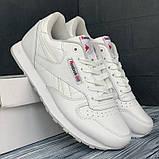 Шкіряні кросівки в стилі reebok classic white білі, фото 4