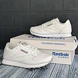 Шкіряні кросівки в стилі reebok classic white білі, фото 2