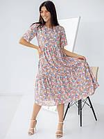 Очень  красивое розовое платье для девушек с маленькими цветами 42-44, 44-46, 46-48