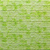 Декоративная 3D панель самоклейка под кирпич Зеленый мрамор 700x770x5мм