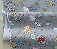 Сатин (хлопковая ткань) роботы космические на сером, фото 3