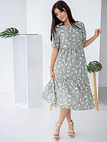 Стильное оливковое платье-сарафан с воланами  42-44, 44-46, 46-48