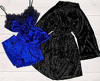 Комплект халат+пижама мраморный велюр Женская домашняя одежда