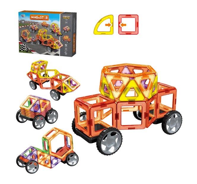 """Конструктор магнітний для дітей """"Транспорт"""" MAGniSTAR LT3002, 58 деталей"""