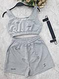 Женский костюм топ и шорты с надписями желтый черный мятный белый фиолетовый, фото 8