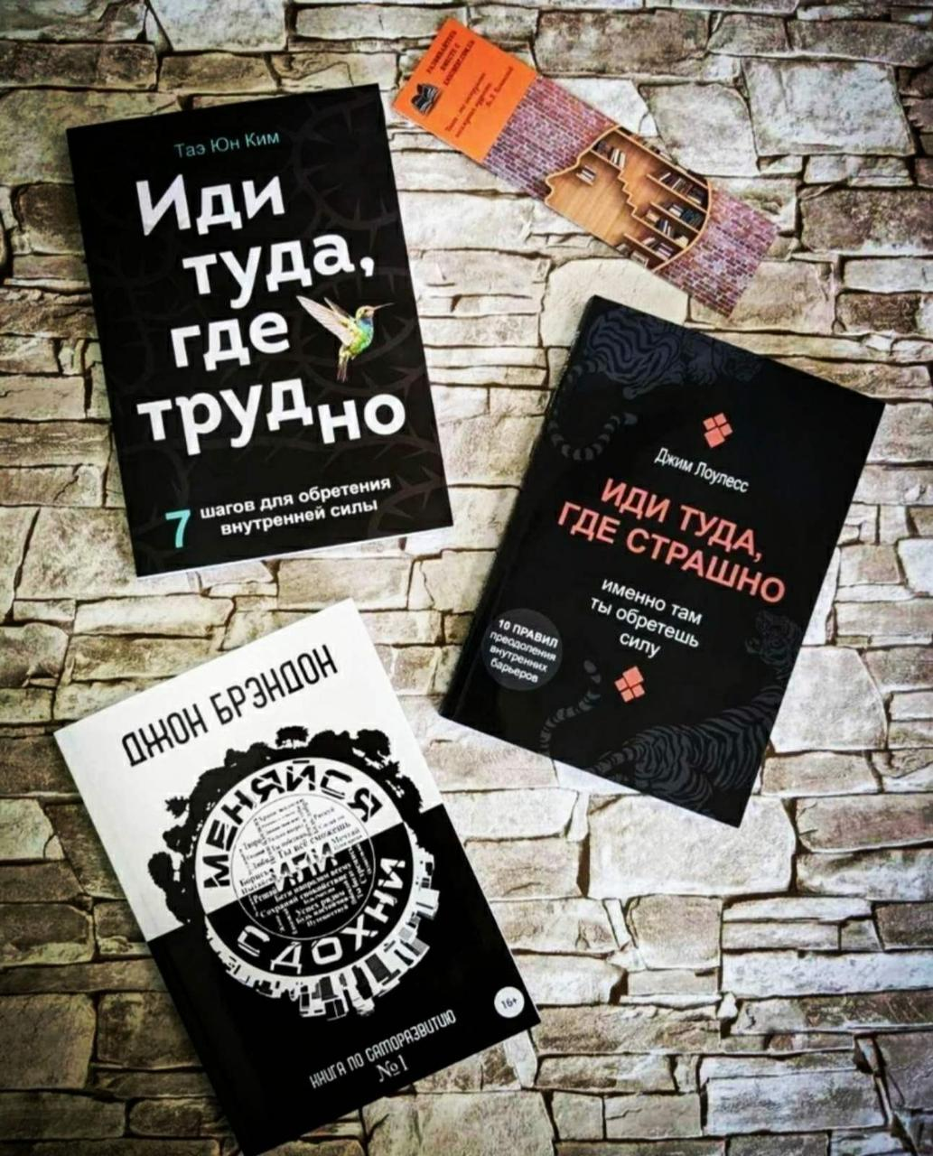"""Набір книг """"Іди туди, де страшно"""" Д. Лоулесс ,""""Змінюйся або здохни"""" Д. Брендон, """"Іди туди, де важко"""" Тае Юн Кім"""