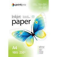 Фотобумага PrintPro A4, 230г/м, глянцевая, 100л