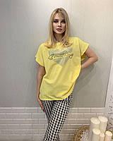 Женская турецкая трикотажная летняя футболка украшенная камнями,желтая № 7873, фото 1