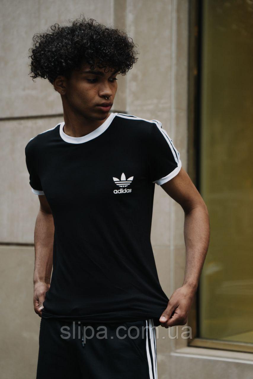 Чёрный летний комплект спортивный Adidas | Украина | футболка + шорты