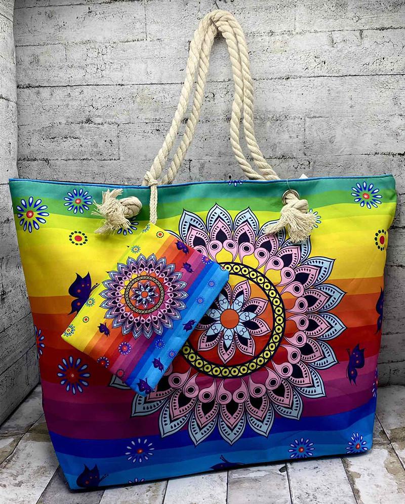 Летняя сумка в этно стиле. Цвет: радуга