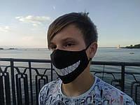 Маска многоразовая тканевая защитная черная Smile на лицо, маска для рта
