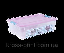 """Контейнер Smart Box з декором """"Pet Shop"""" 14л, прозорий/рожевий/бірюзовий"""