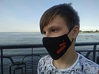 Маска многоразовая тканевая защитная черная Кошка красная на лицо, маска для рта