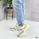 Тільки на 24 см! Кросівки жіночі білі з зеленим / жовтим еко - шкіра + сітка весна - літо - осінь, фото 2