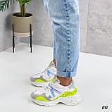 Тільки на 24 см! Кросівки жіночі білі з зеленим / жовтим еко - шкіра + сітка весна - літо - осінь, фото 3