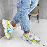 Тільки на 24 см! Кросівки жіночі білі з зеленим / жовтим еко - шкіра + сітка весна - літо - осінь, фото 4