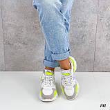 Тільки на 24 см! Кросівки жіночі білі з зеленим / жовтим еко - шкіра + сітка весна - літо - осінь, фото 5