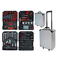Большой чемодан инструментов с трещотками набор инструменты и ключи 399 предметов Алюминевый кейс WMC Tools