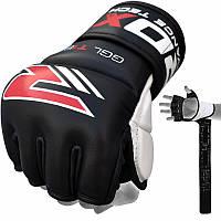 Перчатки ММА Black 7 из кожи Nappa.  Черный