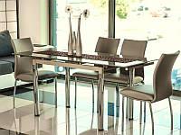 Стол стеклянный кухонный GD 018 темный беж, стол кухонный, стол на кухню, стеклянный стол, стол