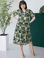 Женское платье-миди из штапеля черное в листок 50, 52, 54