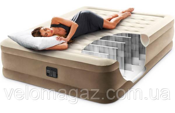 Надувне ліжко 203*152*46 см двоспальне з вбудованим насосом Intex 64458