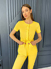 Медицинская куртка ЛУна. Жёлтый. Рукав короткий. Satal