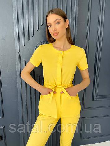 Медицинская куртка ЛУна. Жёлтый. Рукав короткий. Satal, фото 2
