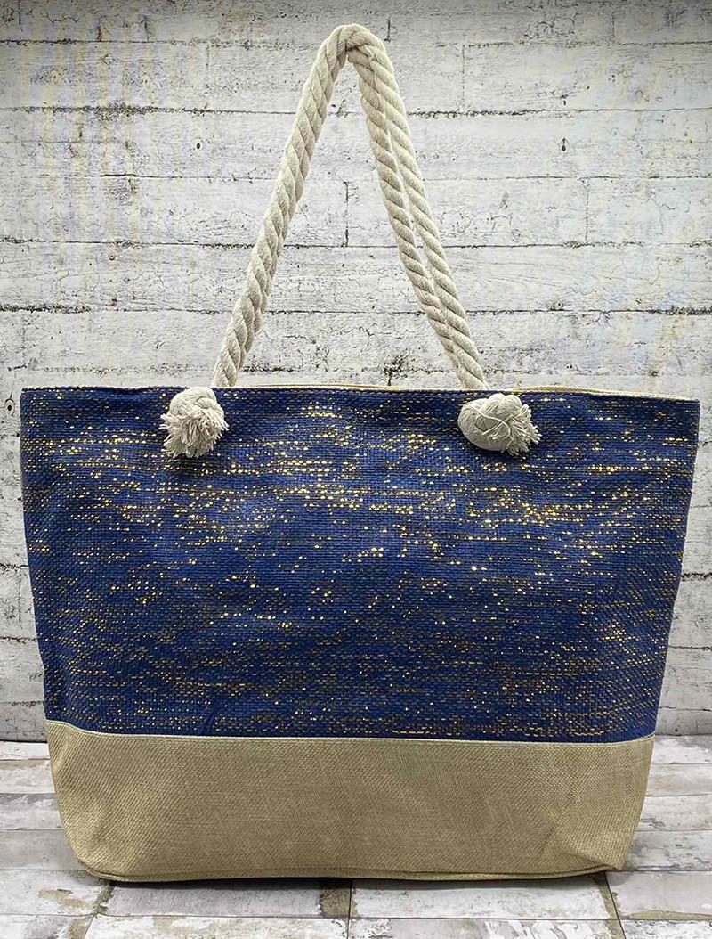 Летняя сумка с люрексовой нитью(золото) Цвет:Тёмно Синий