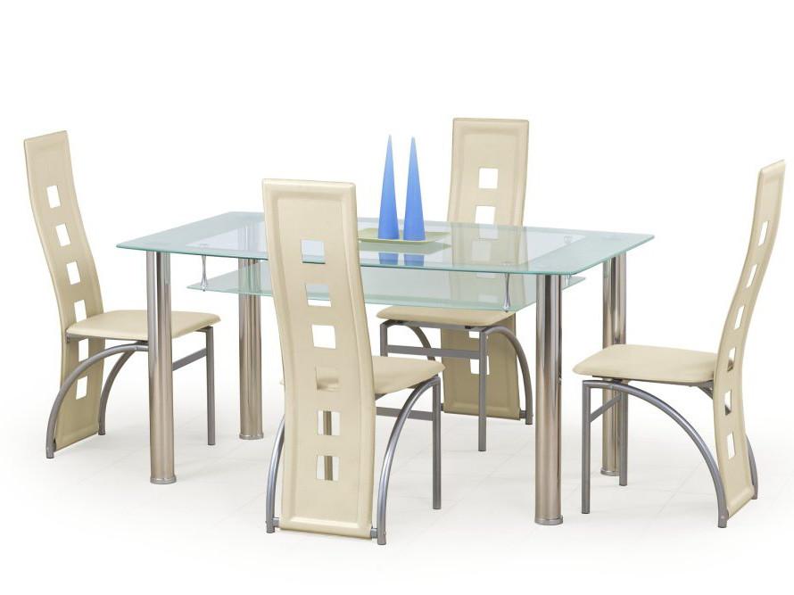 Стол стеклянный обеденный Cristal молочный(Halmar ТМ)