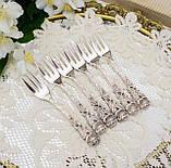 Набор посеребренных десертных вилочек с розой на ручке, серебрение, Hildesheimer Rose, Германия, JUSTINUS SOLI, фото 2