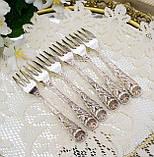 Набор посеребренных десертных вилочек с розой на ручке, серебрение, Hildesheimer Rose, Германия, JUSTINUS SOLI, фото 5