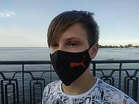 Маска многоразовая тканевая защитная черная Кошка красная прыгающая на лицо, маска для рта