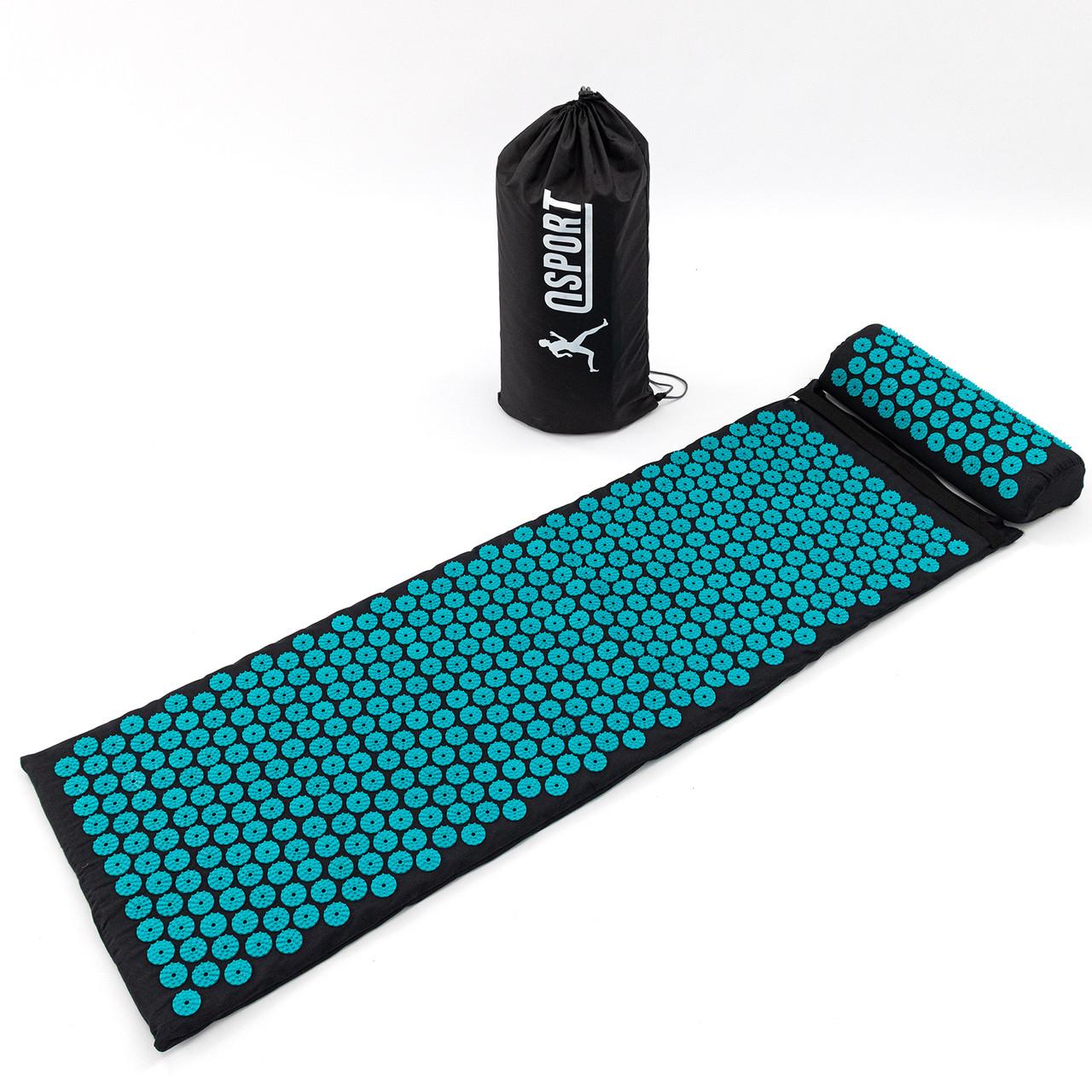 Набір Аплікатор Кузнєцова масажний акупунктурний килимок + подушка масажер для спини/ніг OSPORT Pro (n-0006)
