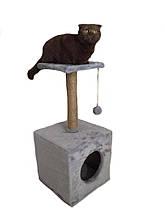 Домик-когтеточка с полкой 36х36х80см. Когтеточка для кошек.