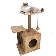 Домик-когтеточка с полкой Маша 46х36х80 см (дряпка) для кошки Бежевый
