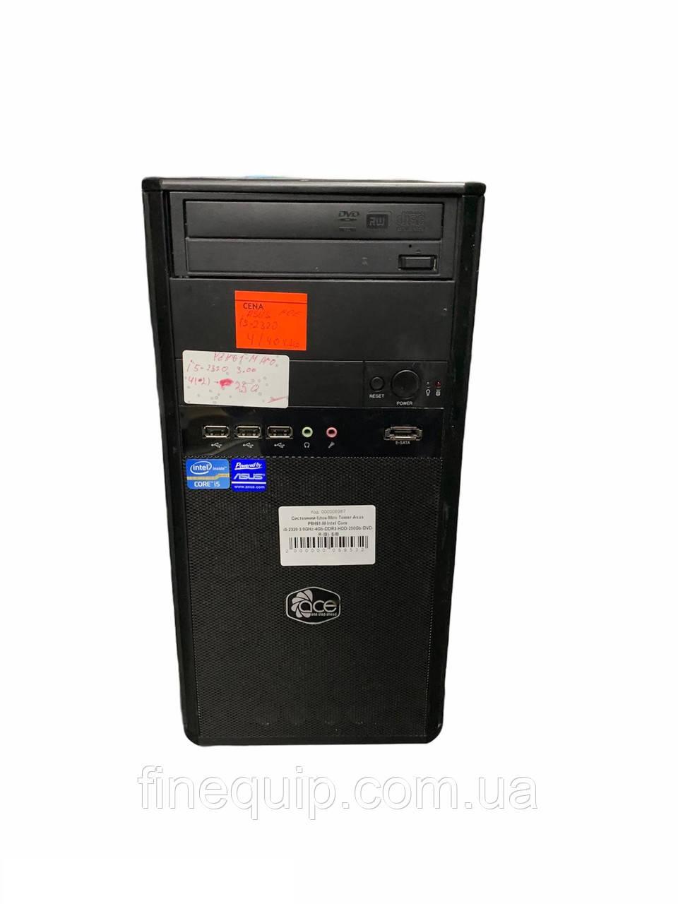 Системный блок mini tower-Asus P8H61-MX-Intel Pentium G2130-3.2GHz-4Gb-DDR3-HDD-500Gb-(B)- Б/У