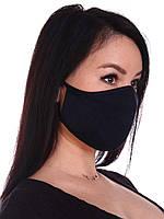 Маска многоразовая тканевая защитная черная на лицо, маска для рта