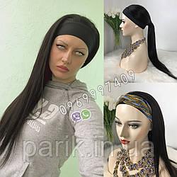Длинный чёрный парик 80 см. на повязке, натуральный волос