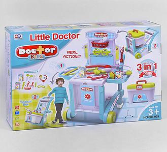 """Набір доктора """"3 в 1"""" 008-929 з валізою стіл візок тачка"""