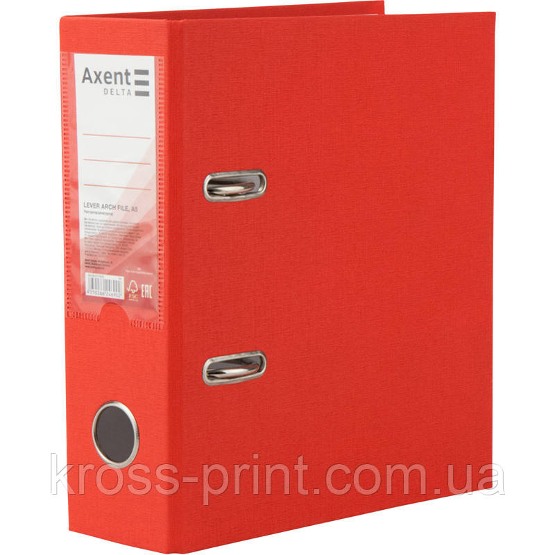 Папка-регистратор Axent Delta D1718-06P, односторонняя, A5, 75 мм, разобранная, красная