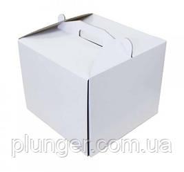 Коробка картонная для торта белая, 25 см х 25 см х 20 см, микрогофрокартон (25Т)