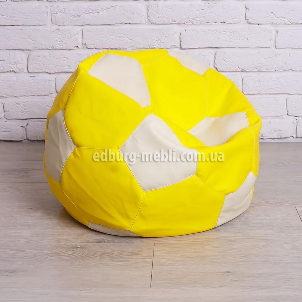 Крісло м'яч 60 см   білий+жовтий кожзам Zeus